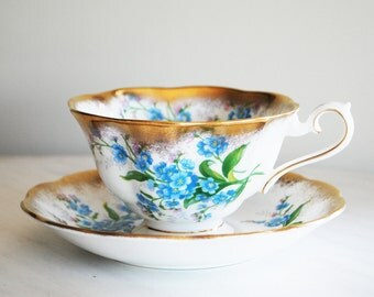 Royal Albert Forget Me Not Teacup and Saucer / Heavy Gold Trim / Forget-Me-Not Tea Cup