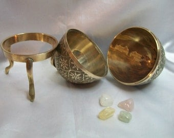 Vintage Brass Egg with Ostara Crystal Set - for your Ostara Altar