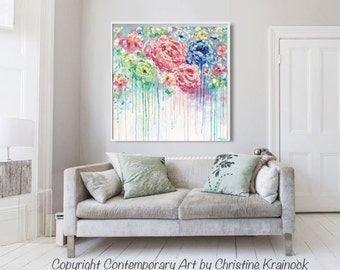 ORIGINAL Abstract Flower Painting LARGE Art Home Decor Wall Art Blue Pink Peonies White Green Textured Palette Knife XL Christine Krainock