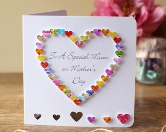 Handmade 3D Mother's Day Card, Personalised, Personalized, Happy Mothers Day, Love Heart, Customised, Mom, Heart, Mothering Sunday (BHE05a)