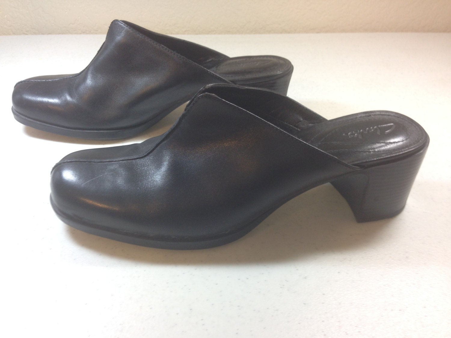 black leather clarks slip on dress shoe with by oldtonewjewels