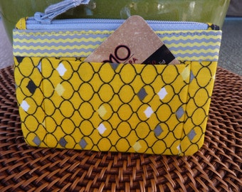 Handcrafted Yellow Zipper Coin Purse/ Mini Wallet with outside pockets