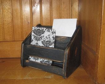 Rustic Wood Desk Top Organizer - Shabby Chic Card File Napkin Holder -  Distressed in Ebony