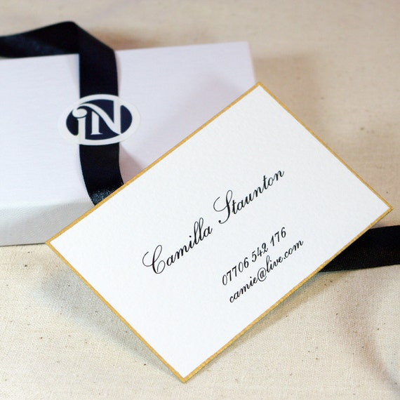 Islenoire Ultra Thick Business Cards 18k Gold Leaf Border