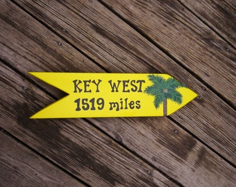 KEY WEST SIGN, Personalized Directional Handpainted Key West Sign, Tropical Sign, Key West Decor, Key West, The Keys
