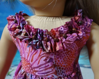 Hawaiian sundress for American Girl Lea Clark, Kanani, or similar 18 inch doll.