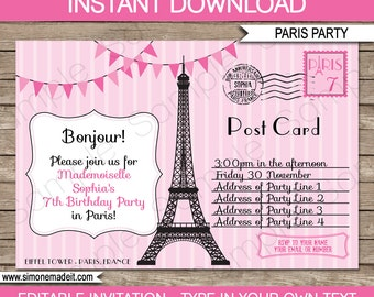Paris Invitation Template - Postcard to Paris - Birthday Party - INSTANT DOWNLOAD with EDITABLE text - you personalize at home