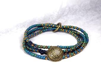 CIJ Seed Bead Bracelet Teal Bracelet Leather Wrap Bracelet Blue Green Bracelet Bronze Bracelet Boho Bracelet Gypsy Collection GO10
