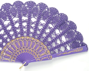 Hand Held Fan- Purple Lace Hand Fan- Lace Fan- Halloween Costume- Folding Hand Fan- Spanish Wedding Fan- Bridal Fan- Mother Of Bride Gift