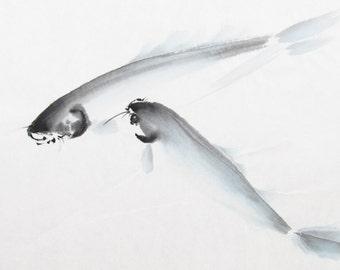 vintage watercolor painting, Koi, minimalist art, mid century modern, original art, brush painting, Japanese art, ink painting