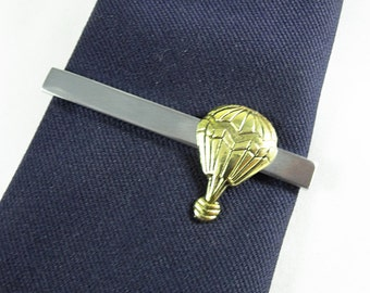 Mens Tie Bar Tie Clip,  Steampunk Vintage Style Brass Hot Air Balloon (Large) Mens Accessories  Handmade
