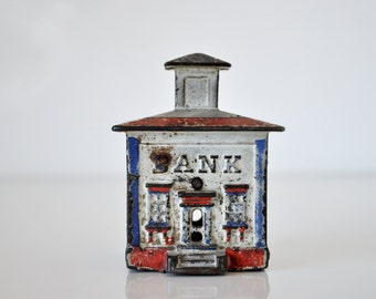 Cast Iron Cupola Bank Building Coin Bank