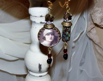 Black heart gypsy photo image bead asymmetrical earrings Pamelia Designs