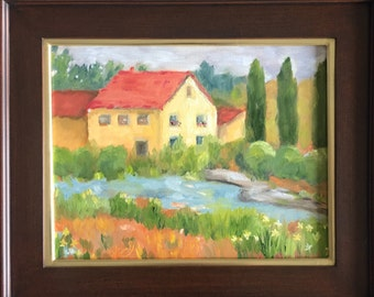Original oil painting: Tuscan Landscape  painting on canvas, framed art