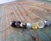 Gemstone Necklace mixed multi stone gold necklace labradorite pyrite garnet quartz prasiolite