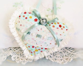 Heart Sachet Sachet Heart Ornament 6 inch  Ruffled Heart, Ivory Aqua Floral, Folk Art, Handmade CharlotteStyle Decorative Folk Art