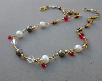 RESERVED Freshwater Pearl Necklace - Bronze Pyrite Necklace with Crystal, Glass, Vintage Glass and Brass - Red and Gold