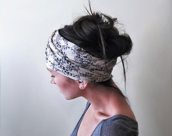 VICTORIAN DAMASK Head Scarf - Antique White Vintage Inspired Hair Wrap - EcoShag Hair Accessories - Yoga Headband - Womens Head Wrap