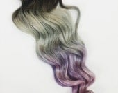 5 Star Seller, Grey Purple Ombre Hair Extensions, Silver Hair, Grey Hair Extensions, Gray Ombre Hair, human hair extensions, full set
