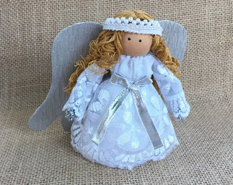 Christmas Angel Figurine Angel Ornament White Lace Angel Tree Topper Christmas Ornaments Holiday Decor Silver Angel Wings angel Ornaments