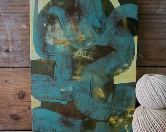 Abstract - Olive Green, Turquoise,  Mid-Century, small painting