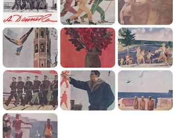 A. Deyneka. Set of 9 Vintage Postcards (out of 12) in original cover -- 1963