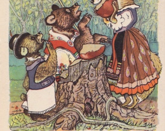 "Postcard Illustration by E. Rachev for Hungarian Folk Tale ""Two Greedy Bear"" -- 1955"