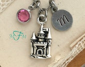 Caslte Charm Necklace, Personalized Necklace, Silver Pewter Castle Charm, Custom Necklace, Swarovski Crystal birthstone, Fairy tales