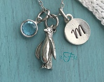 Penguin Charm Necklace, Personalized Necklace, Silver Pewter Penguin Charm, Custom Necklace, Swarovski Crystal birthstone, monogram