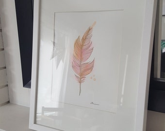 Framed Original Watercolor Feather Painting with Gold Ink