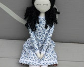 Pinoeer doll, Cloth doll, Gracie Doll, rag doll, handmade, Raven-haired, gift for girl, Swanky Janes, antique doll, Diana Barry