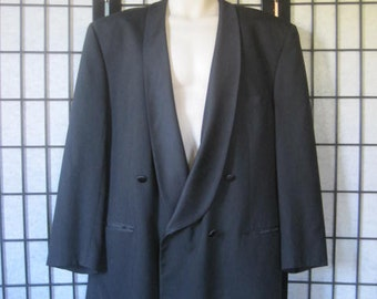 Vintage 1980s Black Tuxedo Pure Wool Formal Jacket by Givenchy 48 Inch Chest Shawl Collar Double Breasted L Large Long