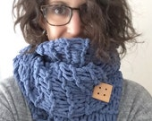 Blue Hand Knit Scarf Shawl Wrap with Wooden Button - Ladies Knitted Handmade Accessory