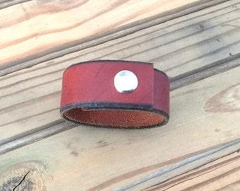 Leather Cuff Bracelet - Brown Leather Cuff - Size MEDIUM