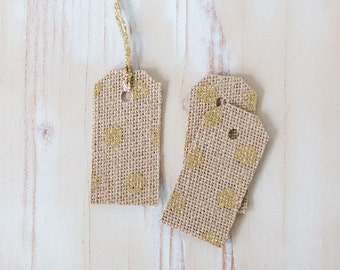 "Gold Glitter Polka Dot / Burlap Fabric Small Gift Tags with Twine - 8 pc - 1.5"" x 3"""