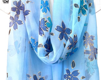 Silk Shawl Hand Painted, ETSY, Kimono Scarf, Blue and Gold Cherry Blossoms Scarf, Blue Floral Scarf, Silk Scarves Takuyo, 22x90 inches.
