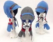 Boy's woolen winter cap, Toddler hat and mittens, boy's warm hat, blue wool, black checked wooly cap, handmade wooly bonnet, Toddler mittens