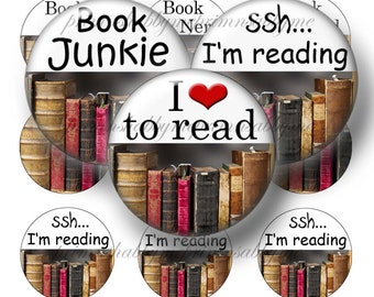 Books, Digital Collage Sheet, 1 Inch Circle, Bottle Cap Images, Books, Sayings, Quotes, Old Books,  No.1, Pendant, Magnet, Cabochons