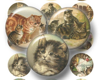 "Vintage Cats, Bottle Cap Images, 1"", 1.25"", 1.5"", 2"", Circles, Digital Collage Sheets, Kittens,, Cupcake Toppers, Magnets, Pendants, No.1"
