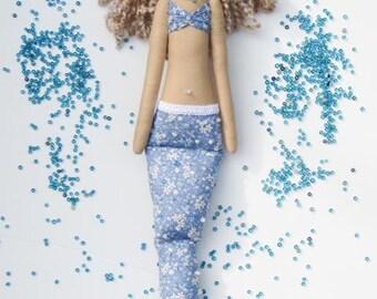 Mermaid doll handmade fabric doll blue softie plush cloth doll art doll lovely rag doll blonde Mermaid gift for girl and mom