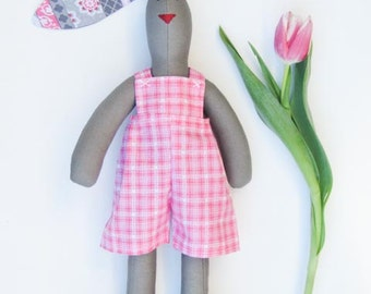 Easter bunny doll stuffed bunny gray and pink rabbit hare toy cute rabbit plush bunny softie toy baby shower nursery decor