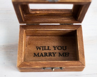 Will You Marry Me Proposal Ring Box Wedding Ring Bearer Box Engagement Box Wedding Box Wedding Ring Box Pillow Alternative, Ring Holder