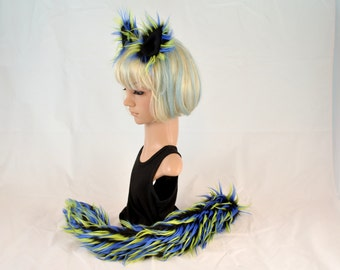 Ear Tail Clip On Set in 3 toned Faux Fur Lime and Blue Spikes