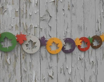 Maple Leaf Circle Garland. CHOOSE YOUR COLORS. Wedding Decoration, Shower, Fall Party.  Custom Orders Welcome.