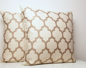 moroccan pillow cover cream pillow taupe throw pillows trellis pillows quatrefoil - Toss Pillows