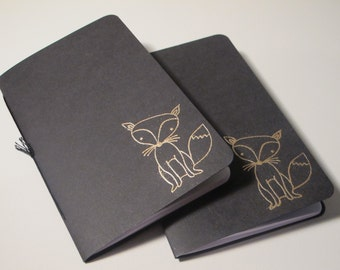 Fox Pocket Notebooks: Set of Two Black and Gold Embossed Small Journals Cahier
