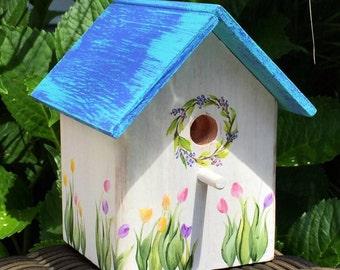 Weathered Turquoise & Blue Decorative Birdhouse