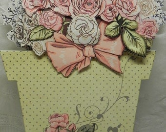 Country Rose Flower Pot shaped card