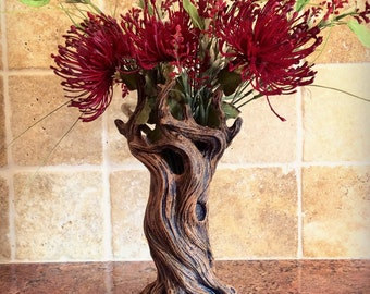 Tree Vase, Brown Finish