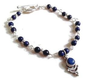 Lapis Bracelet - Navy Blue Bracelet - Sterling Silver Jewelry - Navy Blue Gemstone Jewellery - Fashion - Charm